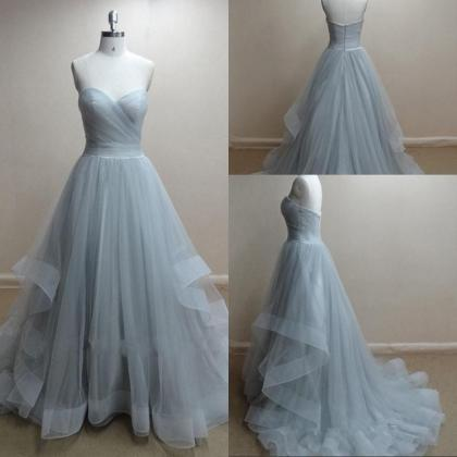 Hot Sale Grey Tulle Sweetheart Ball..