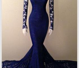 Navy Blue Soft Lace ..