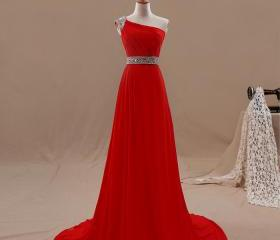 Red Chiffon One Shou..