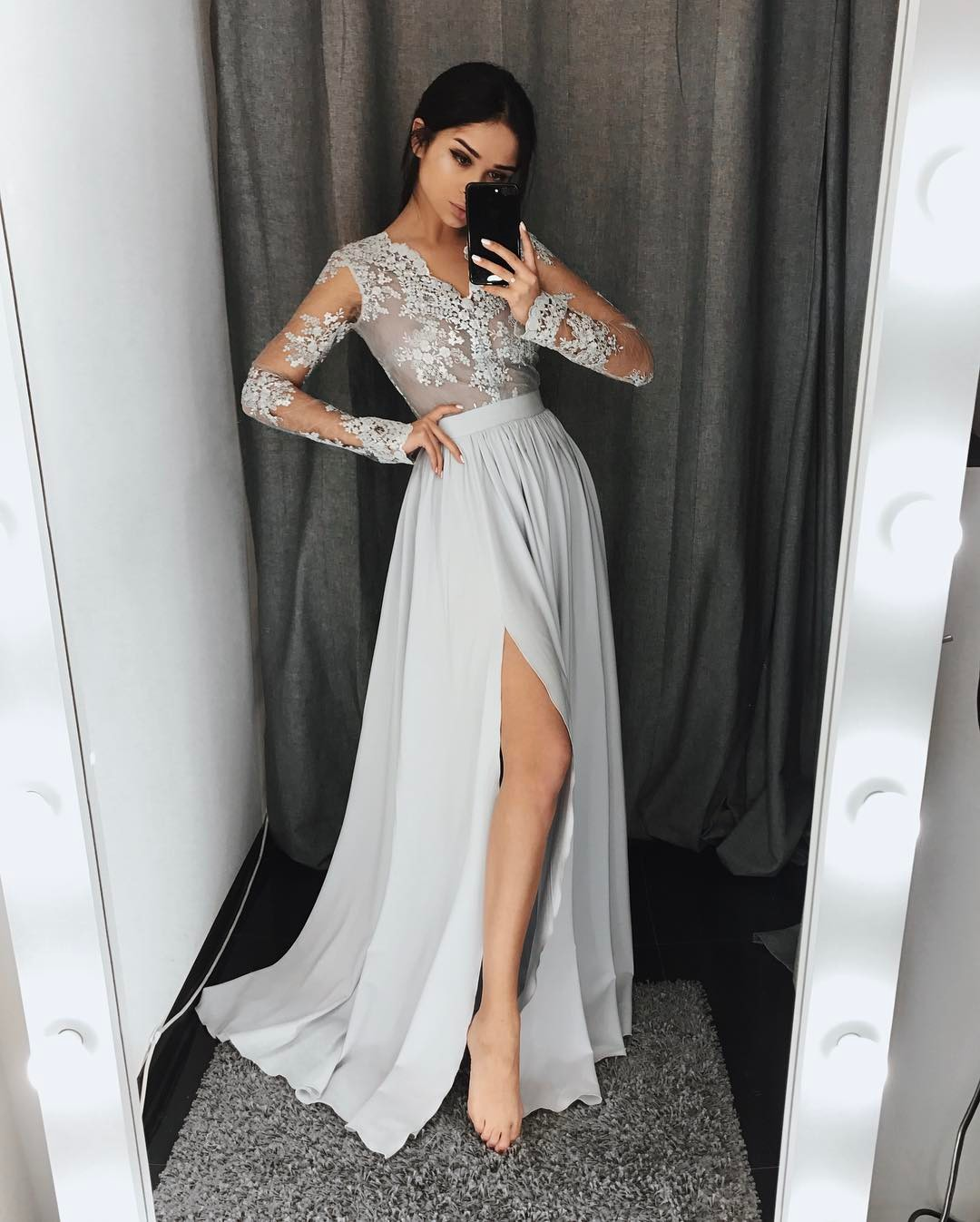 V Neck Long Sleeve Prom Dress, High Slit Chiffon Formal Gown With ...