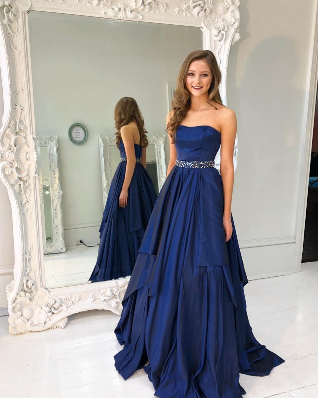 e459819cf68 Elegant Strapless Prom Dress A Line Wedding Party Dress Royal Blue Formal  Gown Long