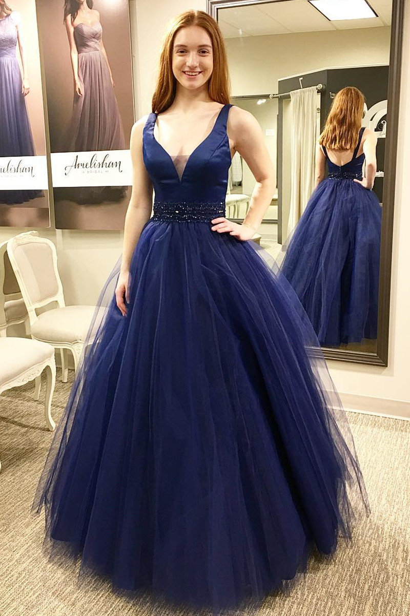 9a55d8a24cc 2018 V Neck Sleeveless Prom Dress Navy Blue Formal Evening Gown With A Line  Tulle Skirt