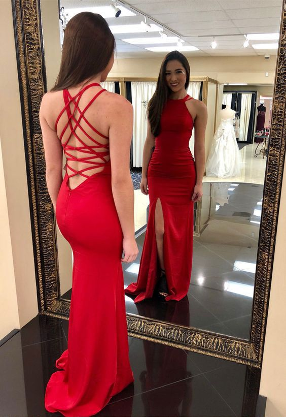 Fitted Halter Formal Evening Gown Red Prom Dress Wedding Party Dress With Side Slit