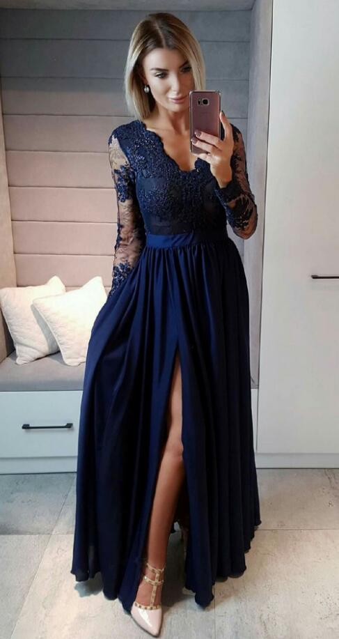 New Arrival V Neck Formal Evening Gown Long Sleeve Navy Blue Prom