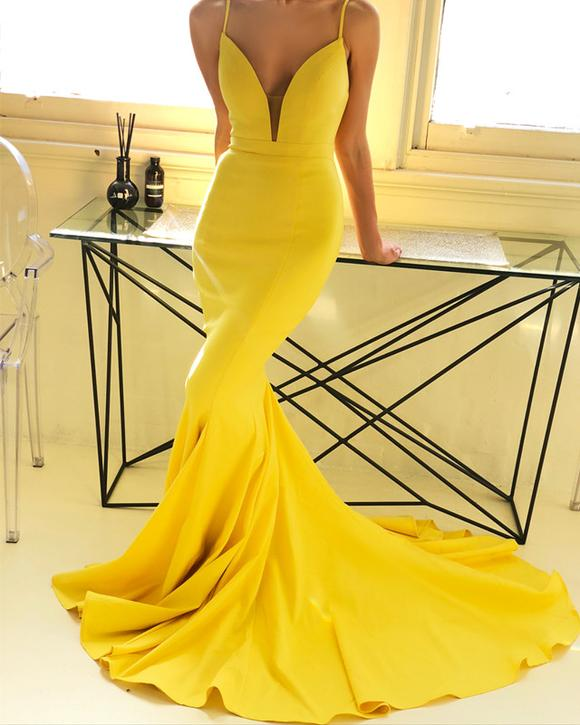 832e5b66dd7 New Arrival Gorgeous Yellow Formal Evening Gown Plunging V Neck Mermaid Prom  Dress Sweep Train