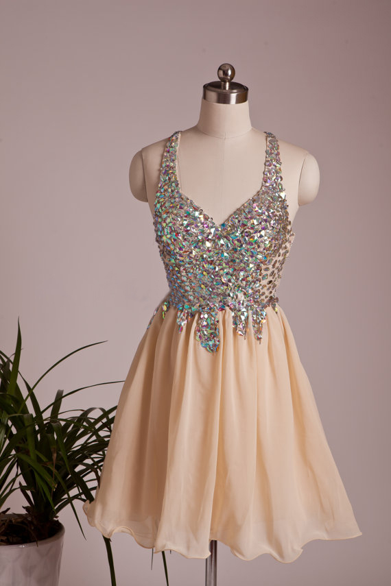 2015 Champagne Chiffon Cocktail Dress With Crystals