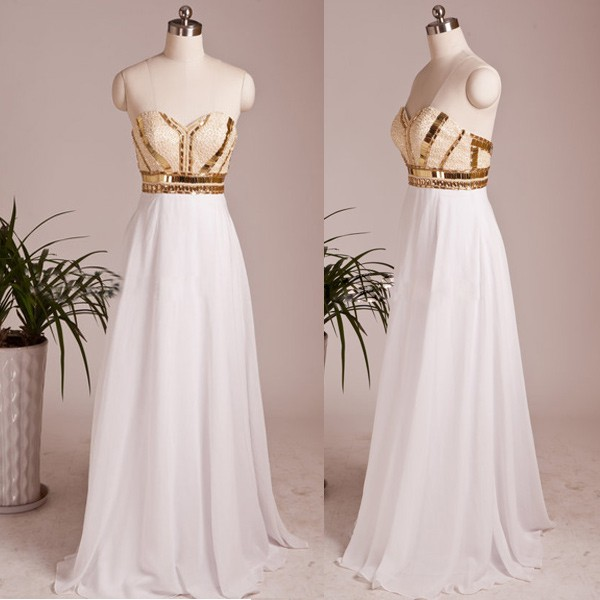 f0bb204dc12 White Chiffon Sweetheart Formal Prom Gown With Beaded And Gold Sequins  Bodice