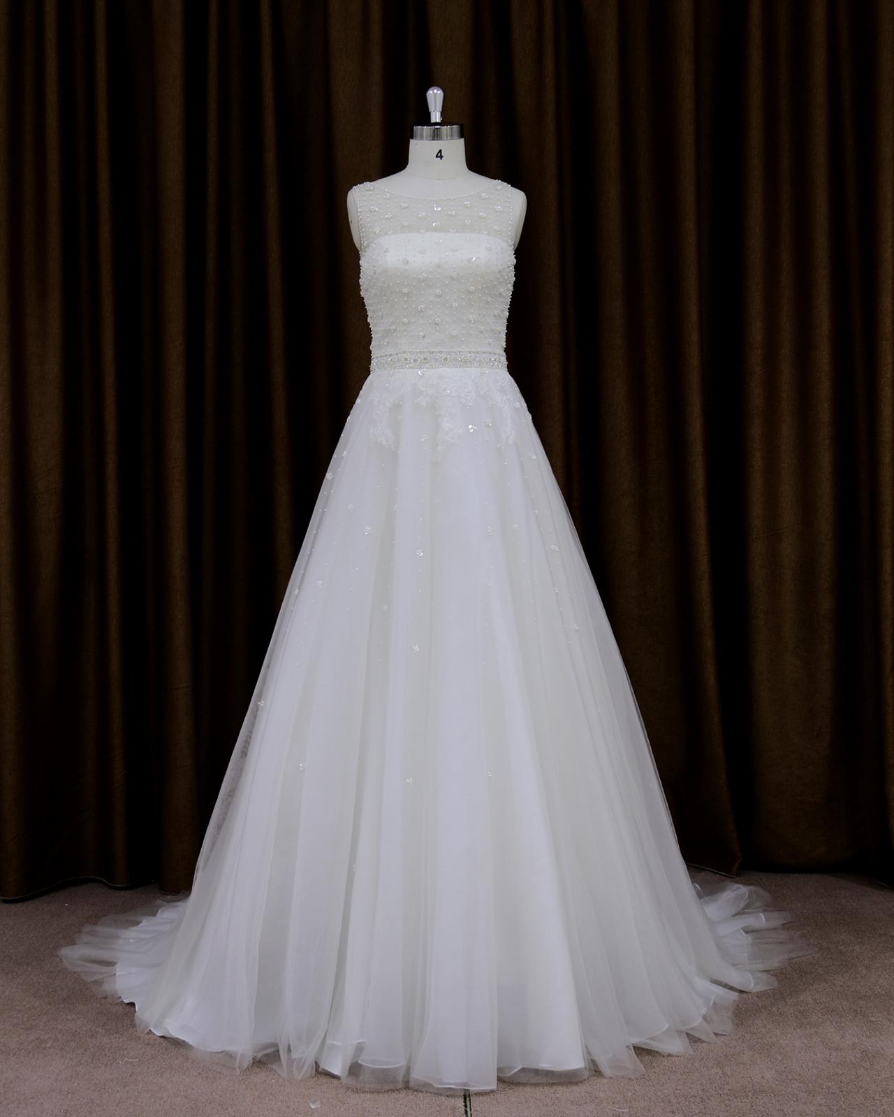 Tulle Beaded Illusion Neckline Chapel Train Wedding Dress With Sheer Back