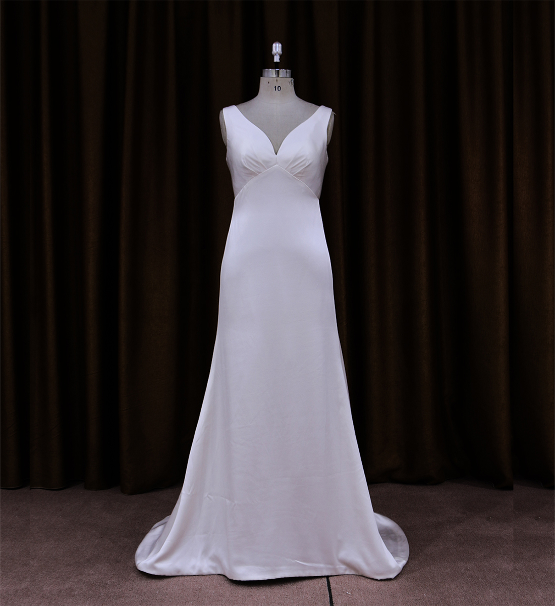 Satin Sleeveless V Neck Wedding Dress With Sheer Back