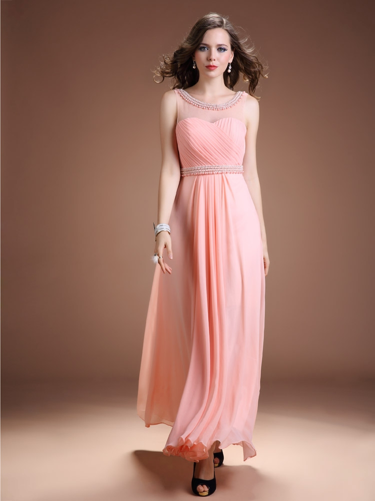Pink Chiffon Illusion Neckline Evening Dress With Open Back on Luulla