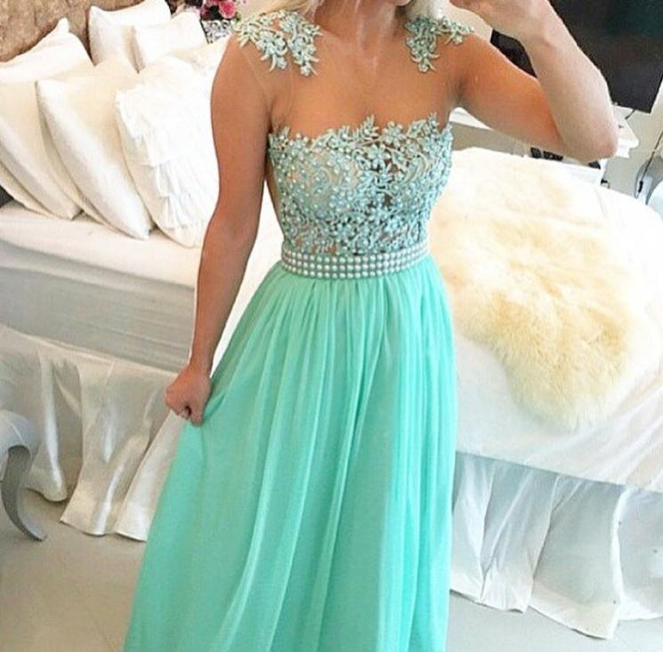 Mint Green Chiffon illusion Neckine Beaded Prom Dress With Lace Appliques  Bodice b0de9a8fa19c