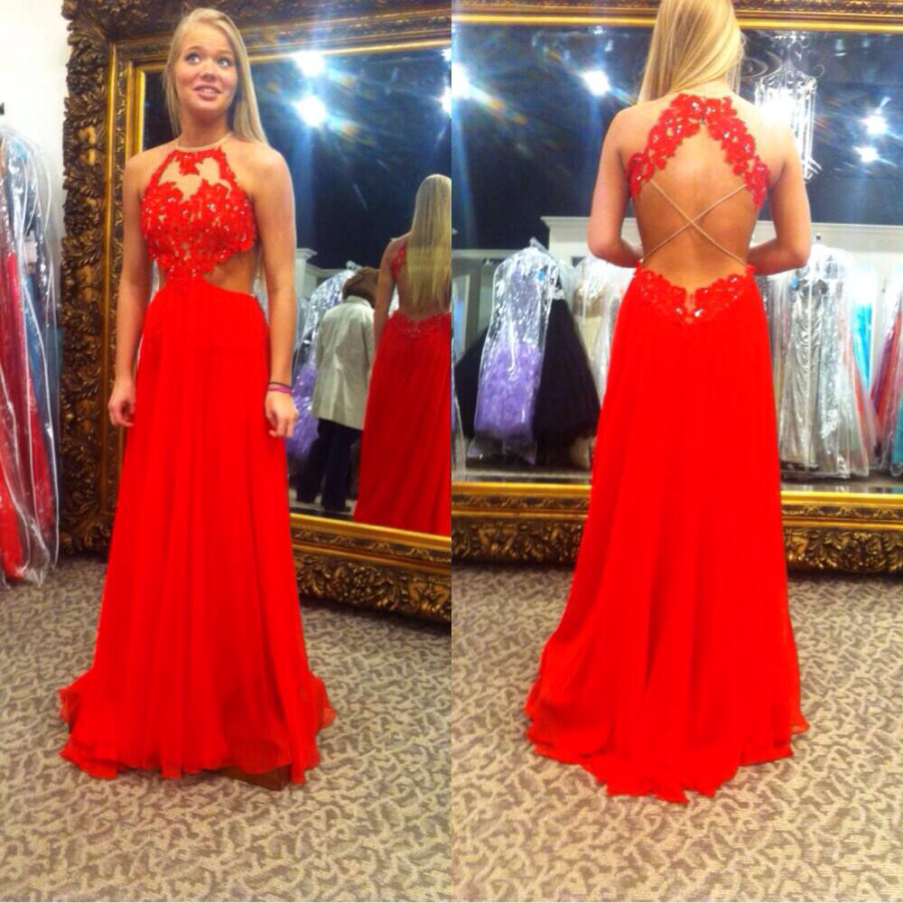 Red Chiffon Floor Length Open Back Prom Gown With Lace Appliques Bodice