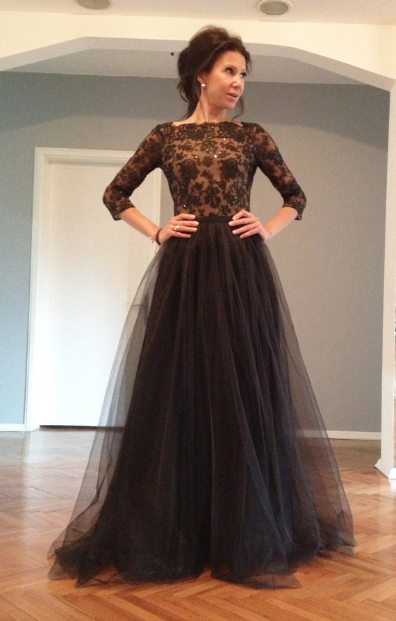 2015 Black Lace Long Sleeve Prom Dress With Beading Bodice On Luulla