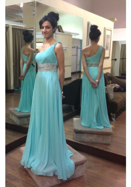 Ice Blue One Shoulder Chiffon Long Prom Dress With Beaded Waist on ...