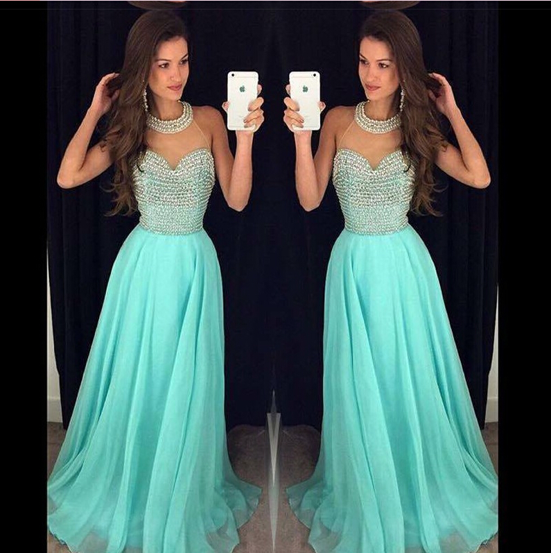 ea525a82cbbe 2016 Mint Jewel Neck Illusion Chiffon Prom Dress With Beaded Bodice ...