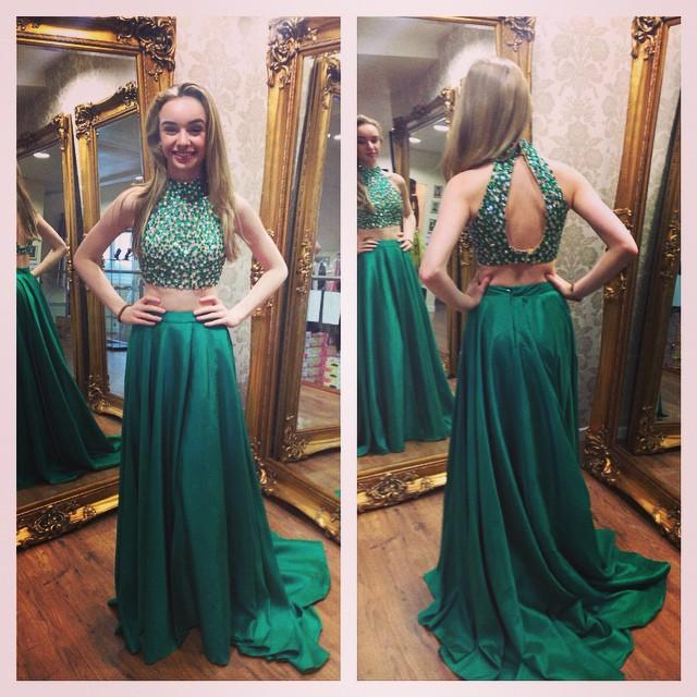 Green Beaded High Neck Two Piece Prom Dress Keyhole Back Formal