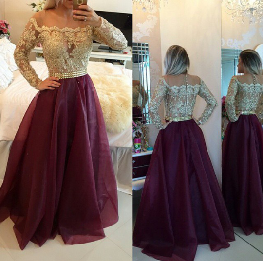 Burgundy Off The Shoulder Long Sleeves Prom Gown With Sheer Lace Appliques Top