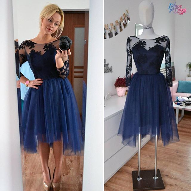navy blue sheer long sleeves tulle cocktail party dress with lace