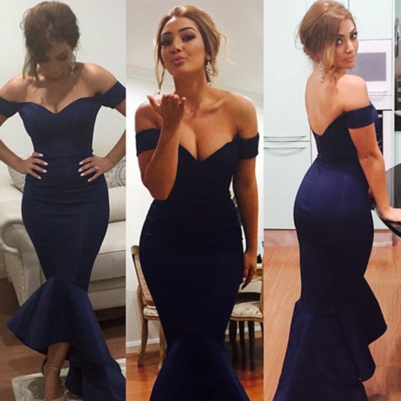 Navy Blue Off The Shoulder Satin Mermaid Evening Gown With
