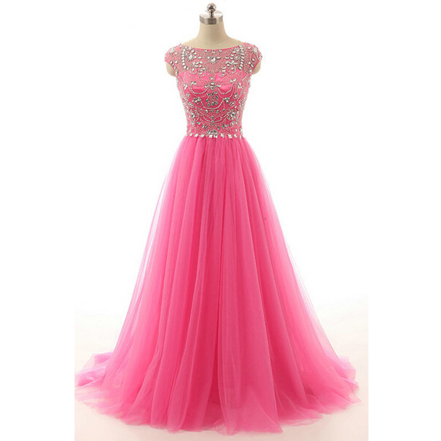 Rose Pink Cap Sleeves Tulle Prom Gown With Beaded And Crystals ...