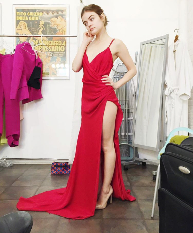 Red V Neck High Slit Formal Gown ,Prom Dress With Spaghetti Straps ...