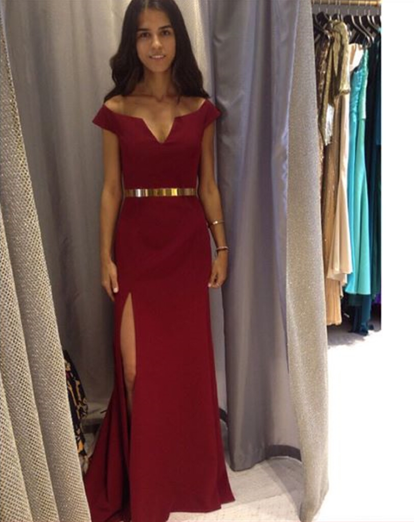 Burgundy Off The Shoulder Slit Prom Dress, Evening Gown With Gold ...