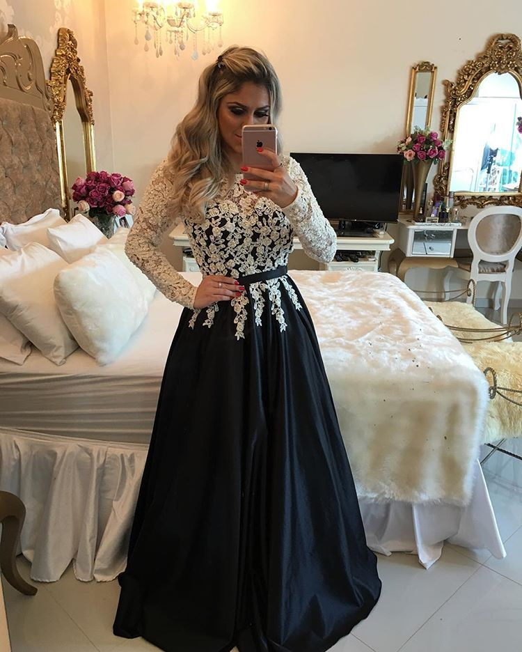 5030de722e8 Ivory   Black Satin A Line Long Sleeve Prom Dress