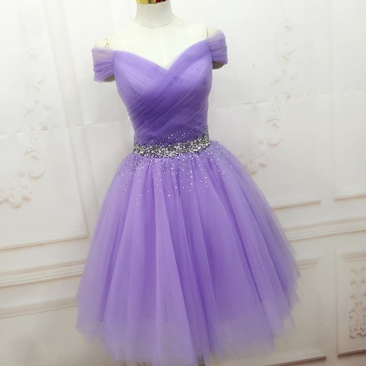 6df8053ac2d8 Beaded Lavender Off The Shoulder Tulle Cocktail Dress Short Party Dress  With Ruched Bodice