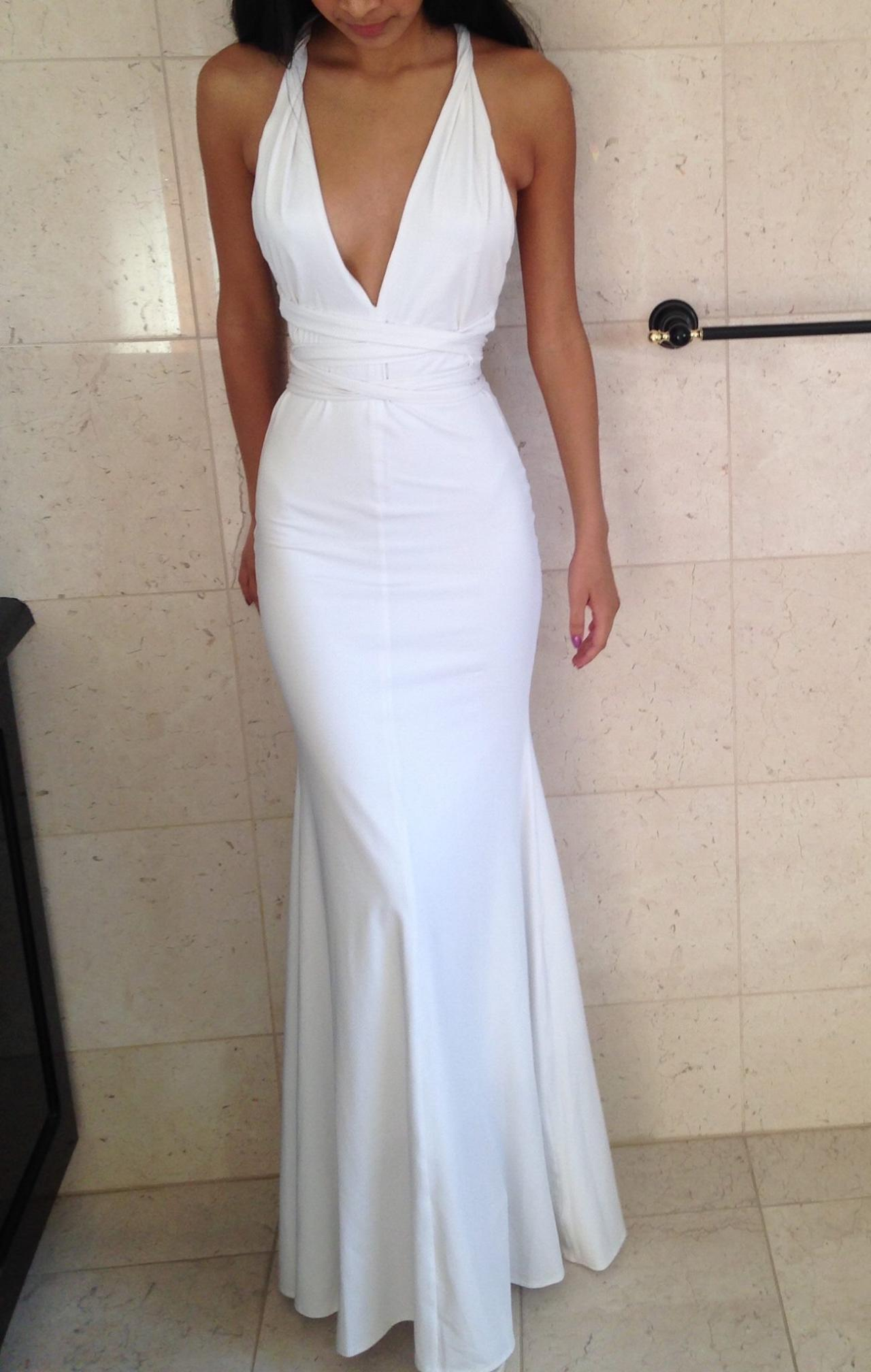 Fitted White Deep V Neck Mermaid Prom Dress,