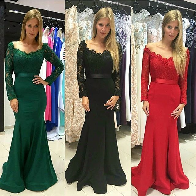 bddfb11746a3 Dark Green Off The Shoulder Mermaid Prom Gown