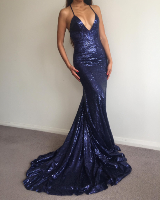 Sexy Sequin Royal Blue V Neck Mermaid Prom Dresslong Party Dress On
