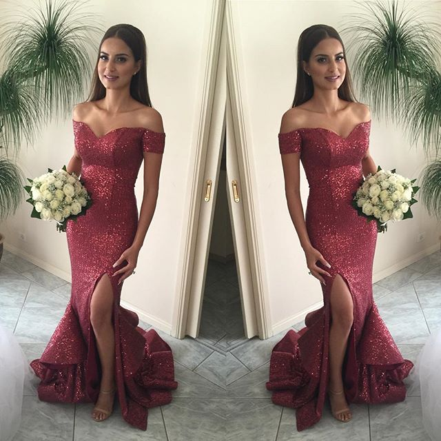 Sequin Off The Shoulder Prom Gown,Mermaid Prom Dress,Side Slit ...