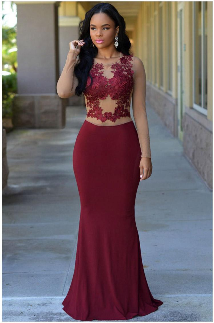 29ac499f1d1 Burgundy Fitted Formal Gown