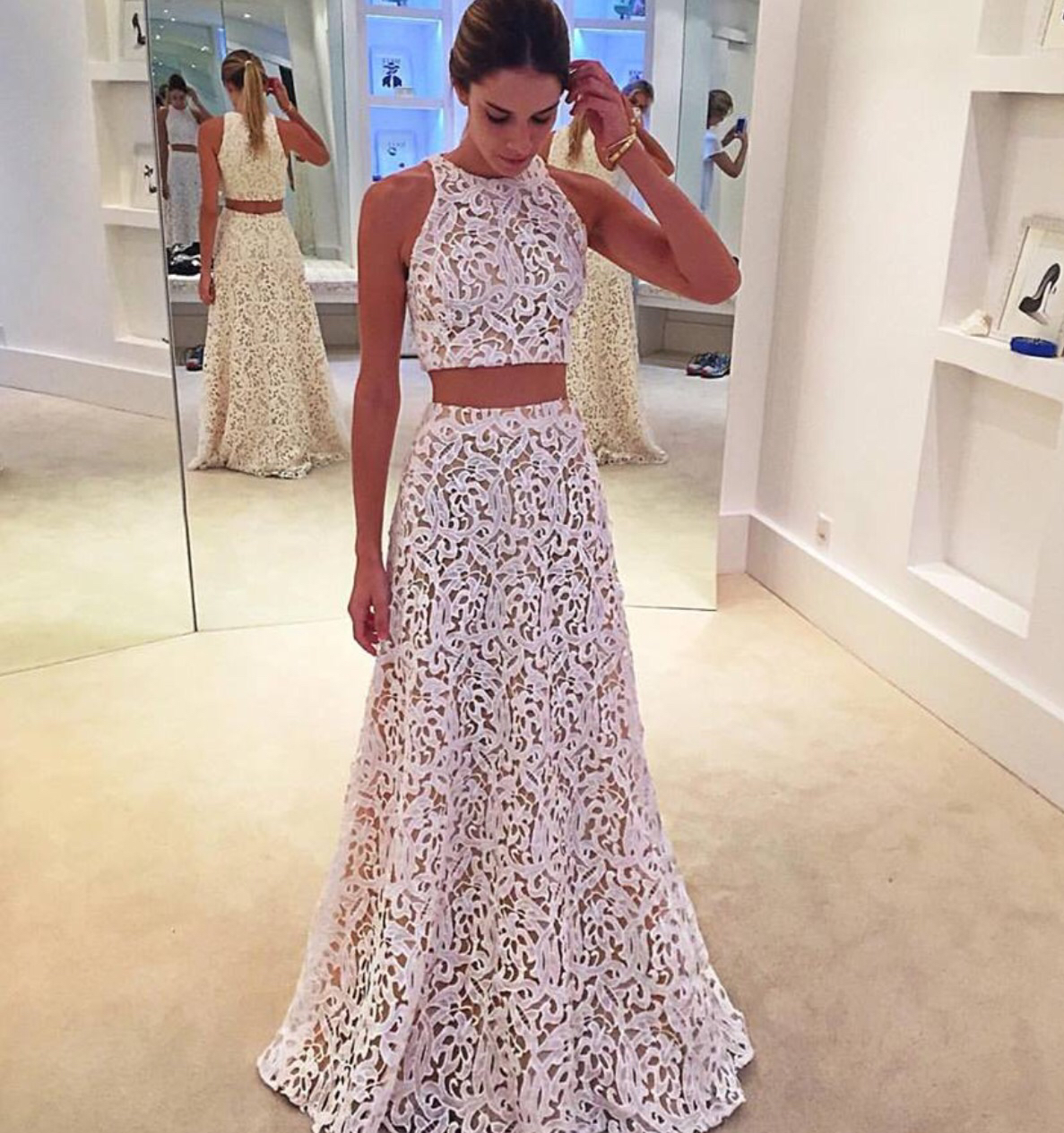 2017 White Lace Prom Dress,Two Piece Sleeveless Formal Gown, Long ...