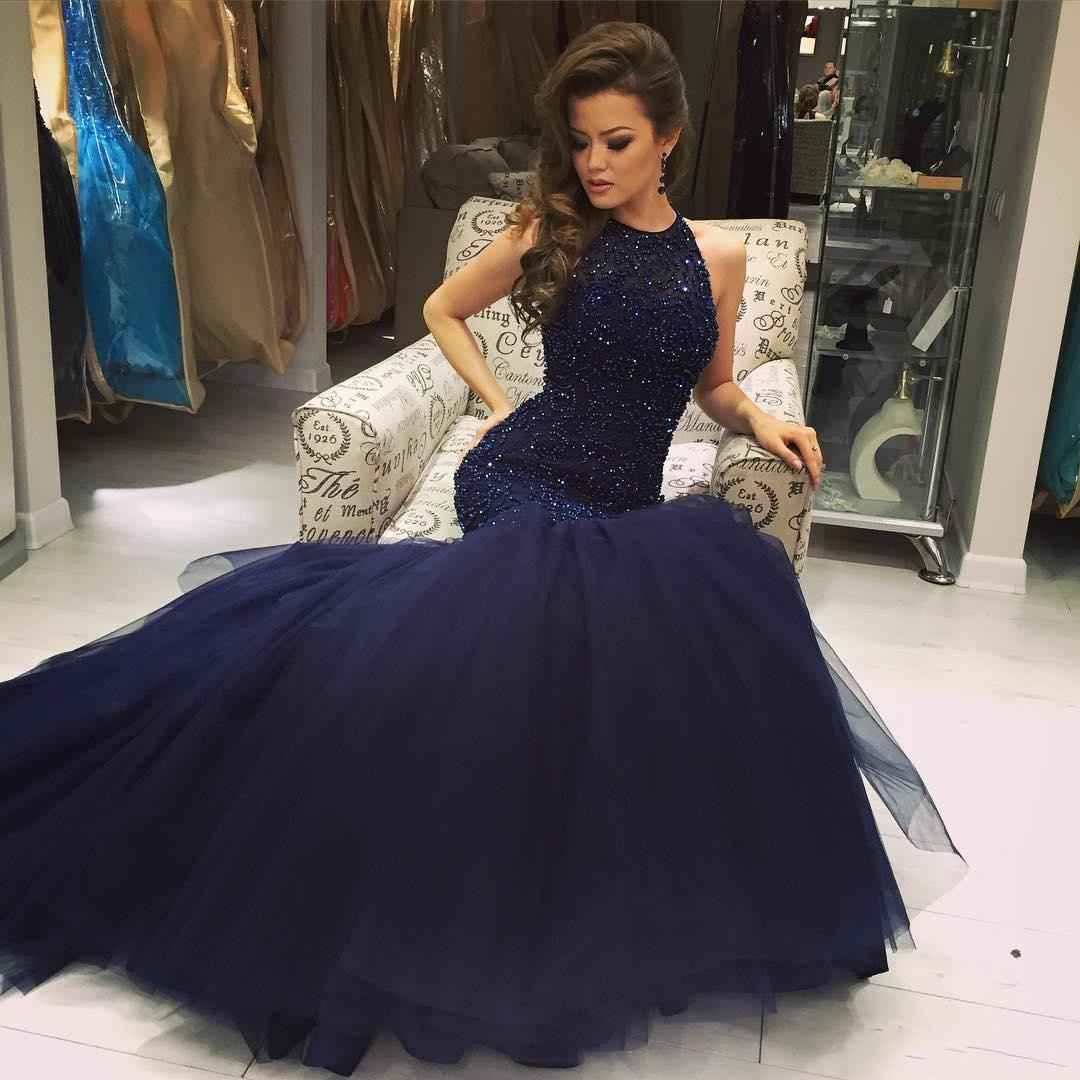 2017 Navy Blue Sleeveless Prom Dress, Beaded Mermaid Formal Gown ...