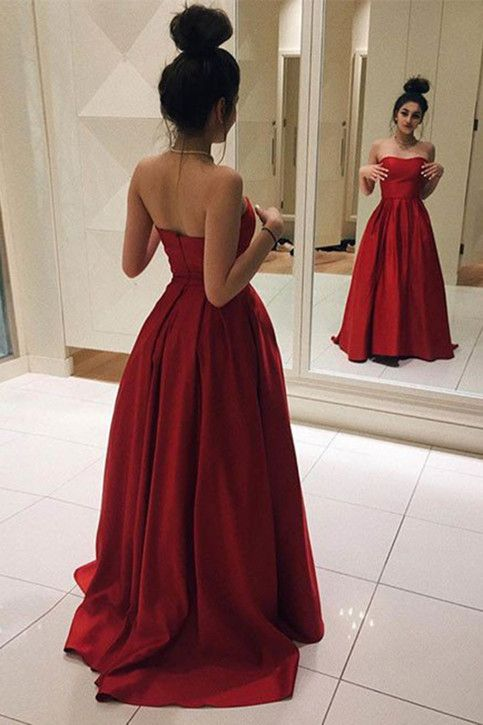 1d49216e5ca94 Gorgeous Red Strapless Prom Dress,A Line Satin Evening Gown,Long Party Dress