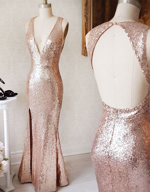 Rose Gold Sequin V Neck Formal Gown Backless Ed Prom Dress Bridesmaid With Side