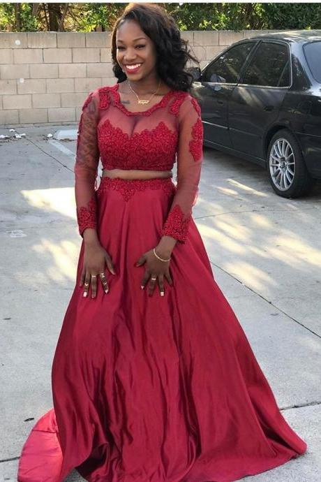 Red Two Piece Prom Dress,Illusion Long Sleeve Formal Gown With Lace Appliques
