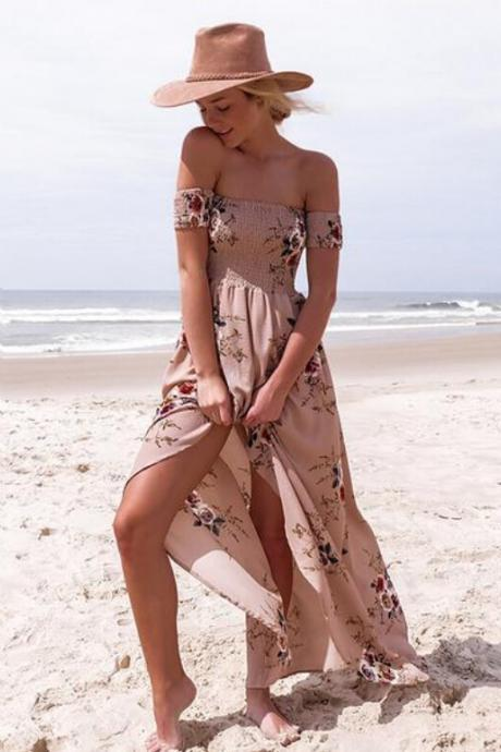 Off The Shoulder Beach Long Dress, Floral Print Chiffon Maxi Holiday Dress With Slit