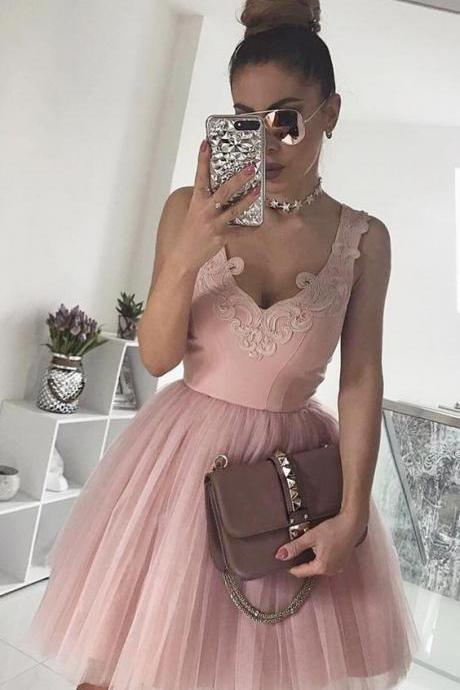 Pink V Neck Tulle A Line Cocktail Dress, Cute Babydoll Dress With Lace Appliques