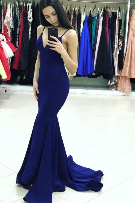 2018 Sexy Royal Blue V Neck Backless Mermaid Prom Dress,Jersey Formal Gown With Spaghetti Straps
