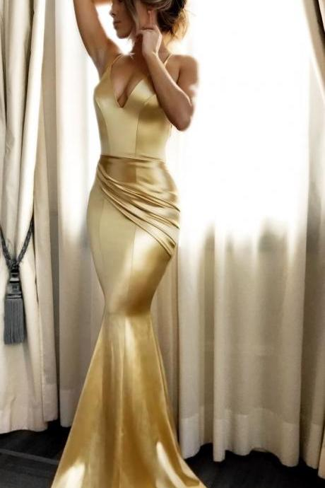 African Gold V Neck Mermaid Prom Dress,Backless Formal Gown With Spaghetti Straps