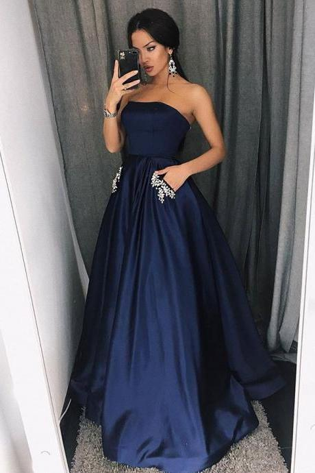Gorgeous Navy Blue Strapless Prom Dress,A Line Satin Formal Gown With Pockets