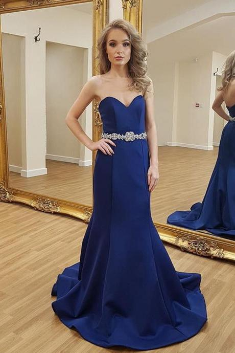 Royal Blue Sweetheart Prom Dress, Sheath Satin Formal Gown With Beaded Waist