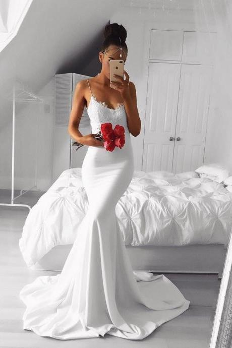 2018 Fashion White Mermaid Design Prom Dress,Formal Gown With Spaghetti Straps
