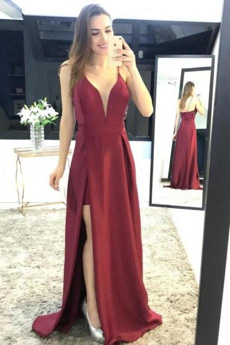 Burgundy Plunging V Neck Formal Gown, Sheath Slit Prom Dress With Spaghetti Straps