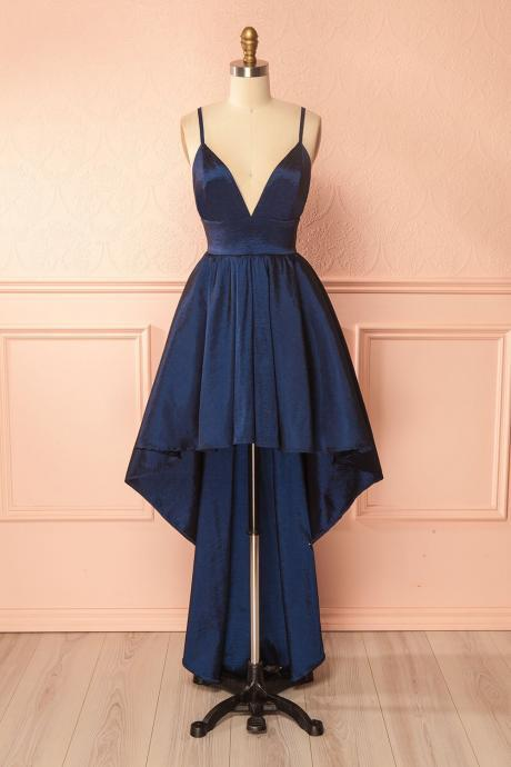 Sexy Royal Blue V Neck Taffeta Homecoming Dress,Backless Party Dress With High Low Skirt