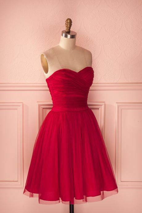 2018 Fashion Sweetheart Red Tulle A Line Homecoming Dress,Knee Length Ruched Dress