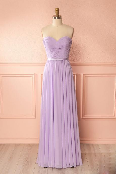 Lavender Sweetheart Floor Length Bridesmaid Dress, Long Party Dress With Draped Bodice