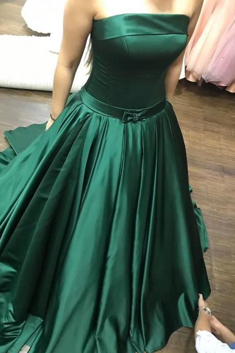 Gorgeous Dark Green Strapless Satin Prom Dress, A Line Formal Gown,Pageant Gown